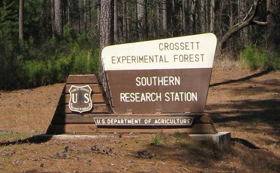 Crossett Experimental Forest entrance sign