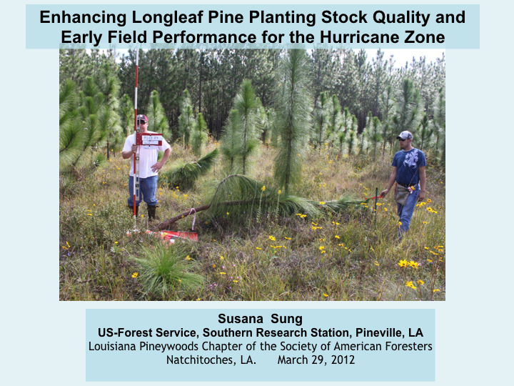 Enhancing Longleaf Pine Planting Stock Quality and Early Field Performance for the Hurricane Zone