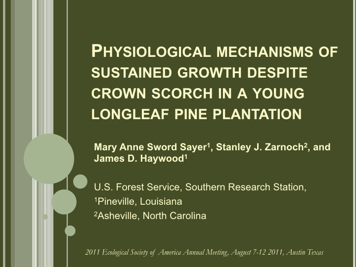 Physiological mechanisms of sustained growth despite crown scorch in a young longleaf pine plantation
